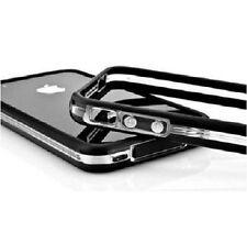 BUMPER NEGRO-TRANSPARENTE PARA IPHONE 4 4S BOTONES METALICO CARCASA PROTECTORA
