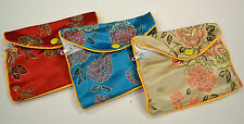 """Silk Jewelry Chinese Pouch Bag Roll Assorted TEN DOZEN Zipper - 5 1/2"""" x 3 1/2"""""""