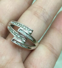 10k White Gold Natural Diamond Multi Row Ring Band sz6.25
