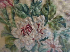 Antq. Framed Needlepoint Floral Picture, Intricate work on fine netting, 1940's?
