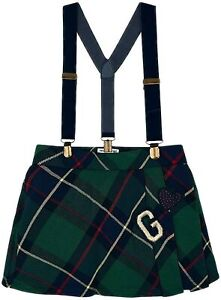 Mayoral Girls Green Pleated Check Skirt With Braces (4914)