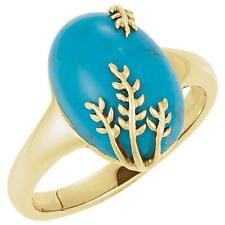 14K Yellow Gold Turquoise Leaf Design Ring