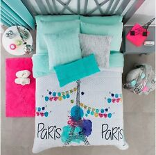 NEW PRETTY COLLECTION PARIS TEENS GIRLS BLANKET WITH SHERPA VERY SOFTY TWIN