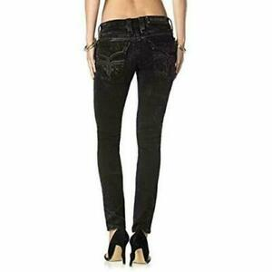 NEW ROCK REVIVAL Anais S10 Skinny Distressed Black Flap Pocket Jeans sz 28