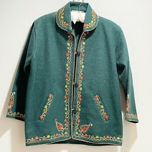 Vintage CK DIWEDI Womens Green Boiled Wool Embroidered Button Front Sweater L