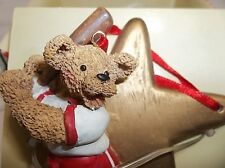 Vintage Kurt Adler Holly Bearies Baseball Player TEDDY BEAR Ornament In Box