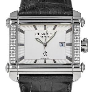 Philippe Charriol Actor CCHXL Diamond Bezel Box Quartz Steel Watch AS IS