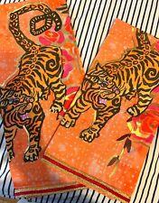 NWT Anthropologie Jungle Tiger Dish Towel Floral Set Of 2