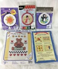 Lot of 5 Counted Cross Stitch Kits Sealed New Animals Child Cat Bear Complete