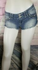Angels Blue Denim Studd Embellished Short Shorts Size 3