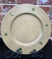 "L'arteffero By Baccinni Italy 13"" Celestial Plate Charger GlassMoon Stars & Sun"