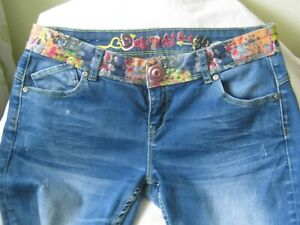 Desigual Jeans Gr. W 30 blau bunt Blumen Hose