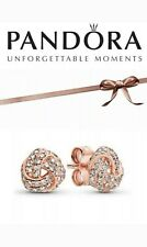 New Genuine Pandora Shimmering Rose Gold Knot Stud Earrings + Gift Pouch