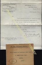 1918 Scarce AIR CROWN MINISTRY OHMS 1st cachet & letter from AIR BOARD, McNally