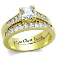 WOMEN'S GOLD TONE CLASSIC PRINCESS CUT CZ ENGAGEMENT WEDDING RING SET SIZE 5 -10