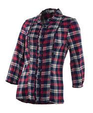 Hip Length Checked 3/4 Sleeve Blouses for Women