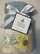 NWT Deborah Connolly Embroidered Flowers 2Pc Hand Towel Set Guest Bathroom