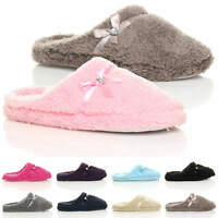 WOMENS LADIES BOW HEART GEM WINTER FLEECE FUR SLIPPERS SLIP ON MULES SIZE