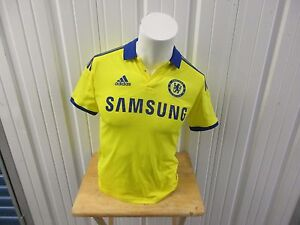 VINTAGE ADIDAS CHELSEA F.C. SEWN LARGE YELLOW AWAY 2014-15 JERSEY YOUTH/WOMENS
