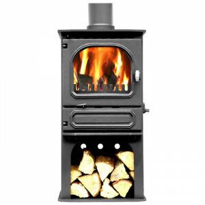 Dunsley Highlander 5 on log store, 5kw multi-fuel stove