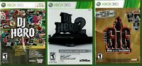 DJ Hero & DJ Hero 2 & Power Gig Xbox 360 All CIB NO Scraches On Cd Roms Manuals
