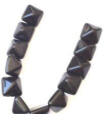 12PCS Czech Glass Square Pyramid Beads 2 Hole-12mm Opaque Jet Black Studs Beads