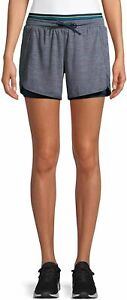 Avia Activewear Women's Running Short w Bike Liner Gray Navy Size Small 4-6 NEW