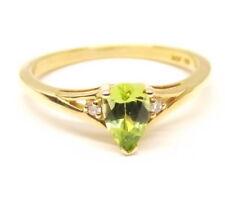 Vtg 14K Gold Peridot Diamond Ring Sz 5.75 Estate August Birthstone Pear Cut