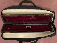 Wm S Haynes kid leather flute case (1930's) and cloth faux wool lined gig bag