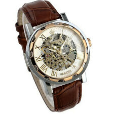 Vintage Design Men Leather Band Stainless Skeleton Mechanical Wrist Watch