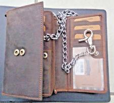 436e7b0e348a9 Büffelleder Geldbörse groß Braun Kette  2 55 cm Rockabilly Biker  Portemonnaie