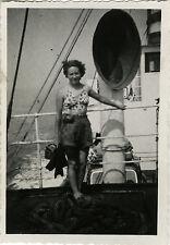 Vintage old photo-snapshot-boat chimney liner woman mode-boat