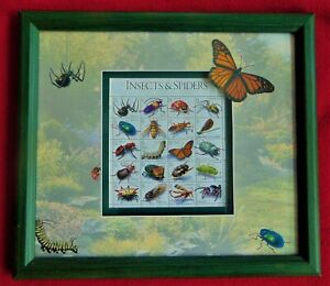 """USPS 1999 ~ BEAUTIFUL FRAMED """"INSECTS & SPIDERS"""" STAMP SET ~ NEW; COST $39.95"""