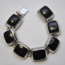 "Vintage TAXCO Mexico Sterling 925 Silver Black Onyx Link 7"" Bracelet"