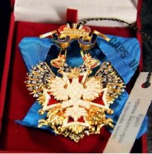 RUSSIAN IMPERIAL AWARD - CROSS OF THE ORDER OF THE WHITE EAGLE SWAROVSKI CRYSTAL