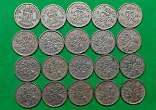 Lot of 20 Different Old British 6 Pence Coins 1947-1967 Sixpence  !!