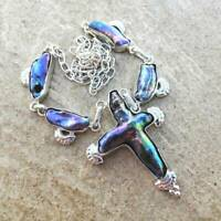 "Handmade Rare Natural Cross Biwa Pearl 925 Sterling Silver Necklace 20"" #N01798"