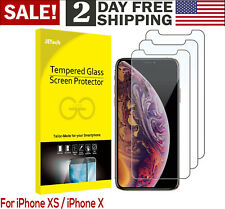 For iPhone Apple XS Fingerprint Resistant HD Tempered Glass Screen Protector 3PC