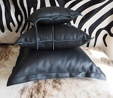 LEATHER FLOOR CUSHIONS - A UNIQUE TRIO OF SOFT LEATHER ARTISAN MADE CUSHIONS