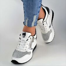 Damen Schuhe Sneaker Weiß Silber Plateau Glitzer Sport Freizeitschuhe Keilabsatz
