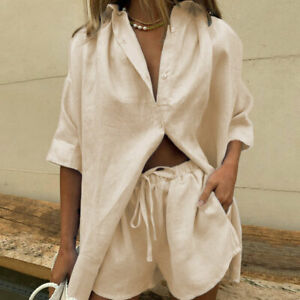 2Pcs Womens Casual Short Sleeve T-shirt Tops Shorts Pants Set Summer Suit