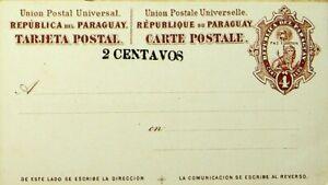 PARAGUAY 2c ON 4c FINE UNUSED UPU TARJETA POSTAL CARD