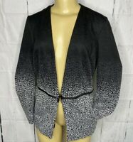 Grace Elements Blazer Jacket Black Marl Gray Spandex Open Career Women Sz Small