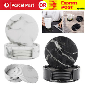 Coasters For Drinks 6 Piece with Holder Marble Texture Round Cup Mat Pad Set