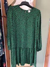 Vestido blusón floral verde h&m talla grande 14/16/18 BNWOT