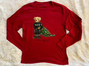 Polo Ralph Lauren Bear T-shirt Red Bear With Christmas Tree Size Large 14 16 EUC