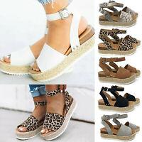 Womens Summer Peep Toe Sandals Flatform Leopard Printed Espadrilles Ladies Shoes