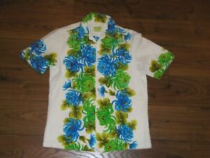 Vintage Ui-Maikai Hawaiian Shirt Floral Bark Cloth Mens Small S USED