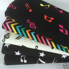 Bundle 5 fat quarters 100% coton notes musicales funky zig zigzags & stars