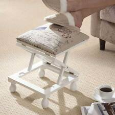 Greenhurst Adjustable Footstool Padded Wooden Stool 3 Height Settings White